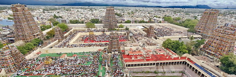 An_aerial_view_of_Madurai_city_from_atop_of_Meenakshi Temple, India