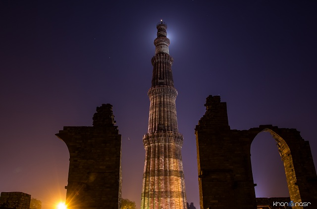 Qutab Minar at Night Delhi India
